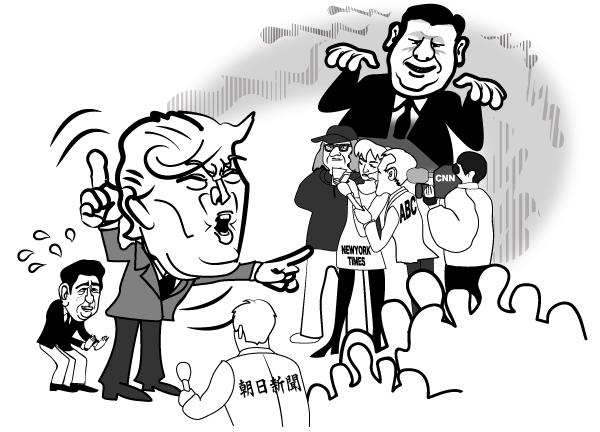 風刺画(安倍、トランプ、習近平)