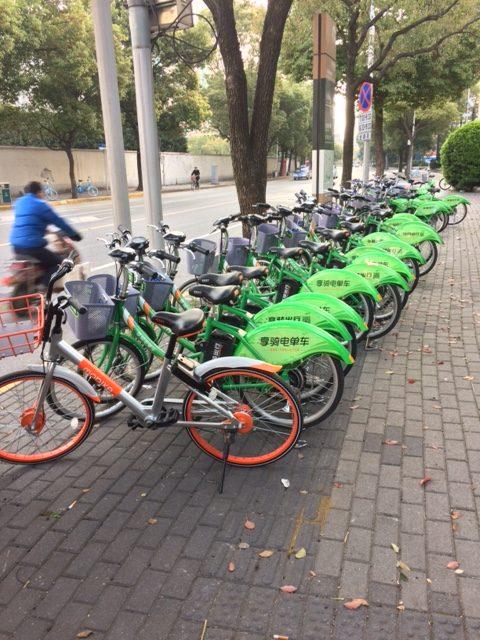 上海、自転車のシェア